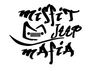 jeepher etsy Custom Jeep JK misfit jeep mafia jeep grille decal custom misfit mafia club anization group jeeping jeeps jeepers jeephers
