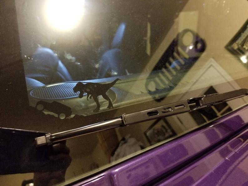 Jurassic Stomping T-REX funny decal for windshield Jeep Wrangler JK JKU