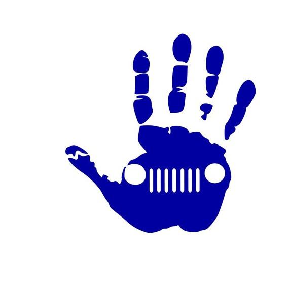 TJ CJ JK  YELLOW YJ JEEP WAVE HAND VINYL STICKER // DECAL