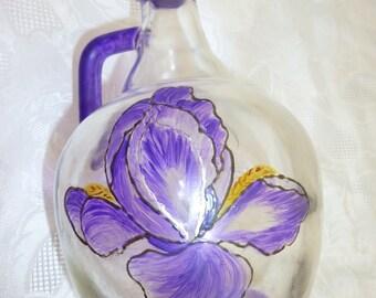pitcher handpainted Iris pattern