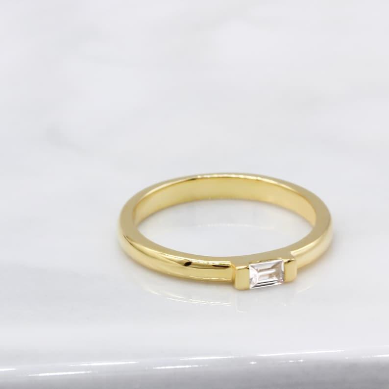 Thin Bar-Set Baguette CZ Real 14K Yellow Gold Wedding Band