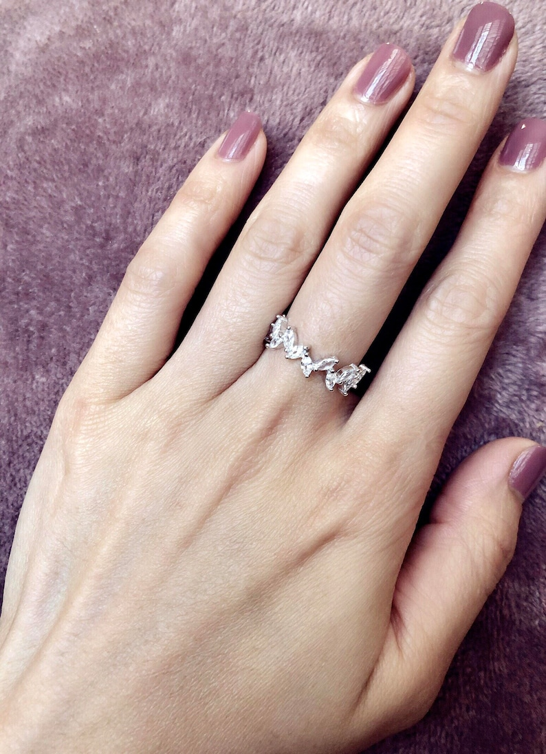 Sterling Silver Ring Hypoallergenic Marquise Wedding Band Marquise Cluster Ring CZ Diamond Ring Promise Ring Half Eternity Band