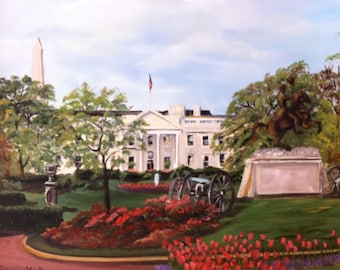United States White House Oil on Canvas