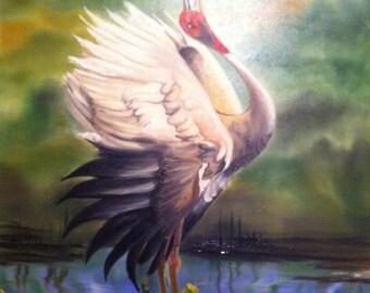 Oil on Canvas - Male Ibis Bird