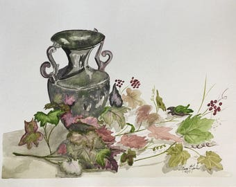 Vase and leaves (2017)