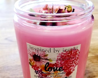 Love Candle | Intention Candle | Boho Candle | Soy Wax Candle | Herbal Candle | Crystal Candle | Valentine's Day Candle | Valentine's Candle