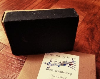 Back in Black Soap | Music Soap | Song Soap | Tribute Soap | Rock n Roll Inspired Soap | AC/DC Soap | Gift Soap