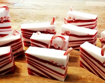 Candy Cane Soap | Holiday Soap | Peppermint Soap | Christmas Soap | Cool Soap | Winter Soap | Gift Soap | Stocking Stuffers