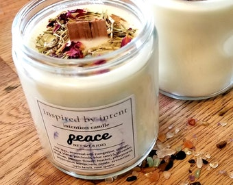 Peace Candle | Intention Candle | Intentions | Boho Candle | Soy Wax Candle | Herbal Candle | Intentional Living Candle
