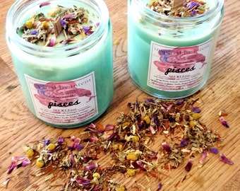 Pisces Candle | Zodiac | Intentions | Astrology | Soy Wax Candle | All Natural Candle | Herbal Candle | Pisces the Fish | Aromatherapy