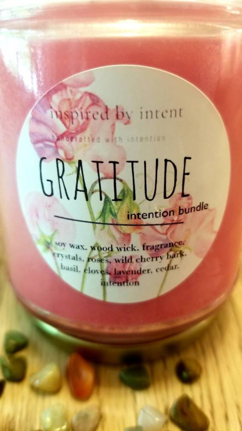 Intention Candle Intentional Living Candle Intentions Boho Candle Gratitude Candle Herbal Candle Soy Wax Candle Thank You
