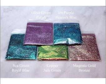 5-Bag Color-Shifting Chameleon Extra Fine Sample Pack I   0.4 MM   5g to 1 oz per Bag   Tumbler   Nail   Resin Jewelry