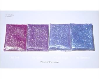 4-Bag UV Glitter Sample Pack   Extra Fine   0.4 MM   5g And 1/2 oz per Bag   Pink   Purple   Light Purple   Light Blue   Tumbler   Nail
