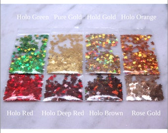 8-Bag Fall Leaves Glitter Sample Pack   Leaves Confetti   Holo   Red   Deep Red   Brown   Green   Pure Gold   Orange   Rose Gold   Tumbler