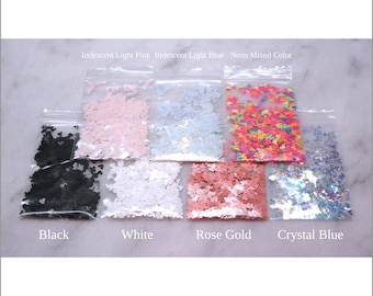 7-Bag MOUSE Glitter Sample Pack I   Mouse Head   Confetti   Iridescent   Neon    Mixed Colors   White   Black   Pink   Blue   Rose Gold