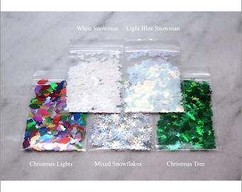 5-Bag Christmas Glitter Sample And Bundle Pack   Christmas Lights   Christmas Tree   Snowman   Mixed Snowflakes   Christmas Decoration