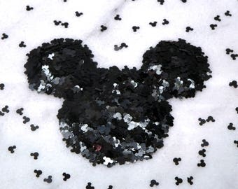 Black Mickey Glitter | Solvent Resistant | Mickey Head | Black Mickey | Spangles | Slime Charms | Nail Art | Resin Jewelry | Tumbler | Craft