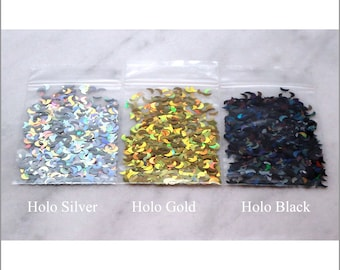 3-Bag BIG Crescent MOON Glitter Sample And Bundle Pack   5 MM   Holo Silver   Holo Gold   Holo Black   1/2 tsp to 1 oz in Each Bag   Craft