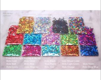 14-Bag Holo MOUSE Glitter Sample Pack   Pack IV + Pack V   Gold   Silver   Mixed Color   Red   Green   Magenta   Blue   Purple   Orange