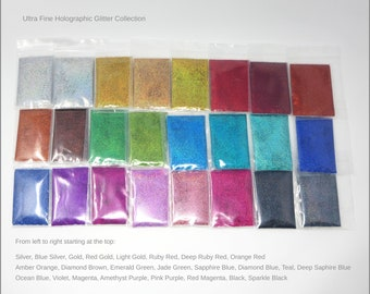 24-Bag Ultra Fine Holo Glitter Sample Pack   0.2 MM   5G   10G   Solvent Resistant   Nail Polish   Resin Jewelry   Tumbler   Slime   Crafts