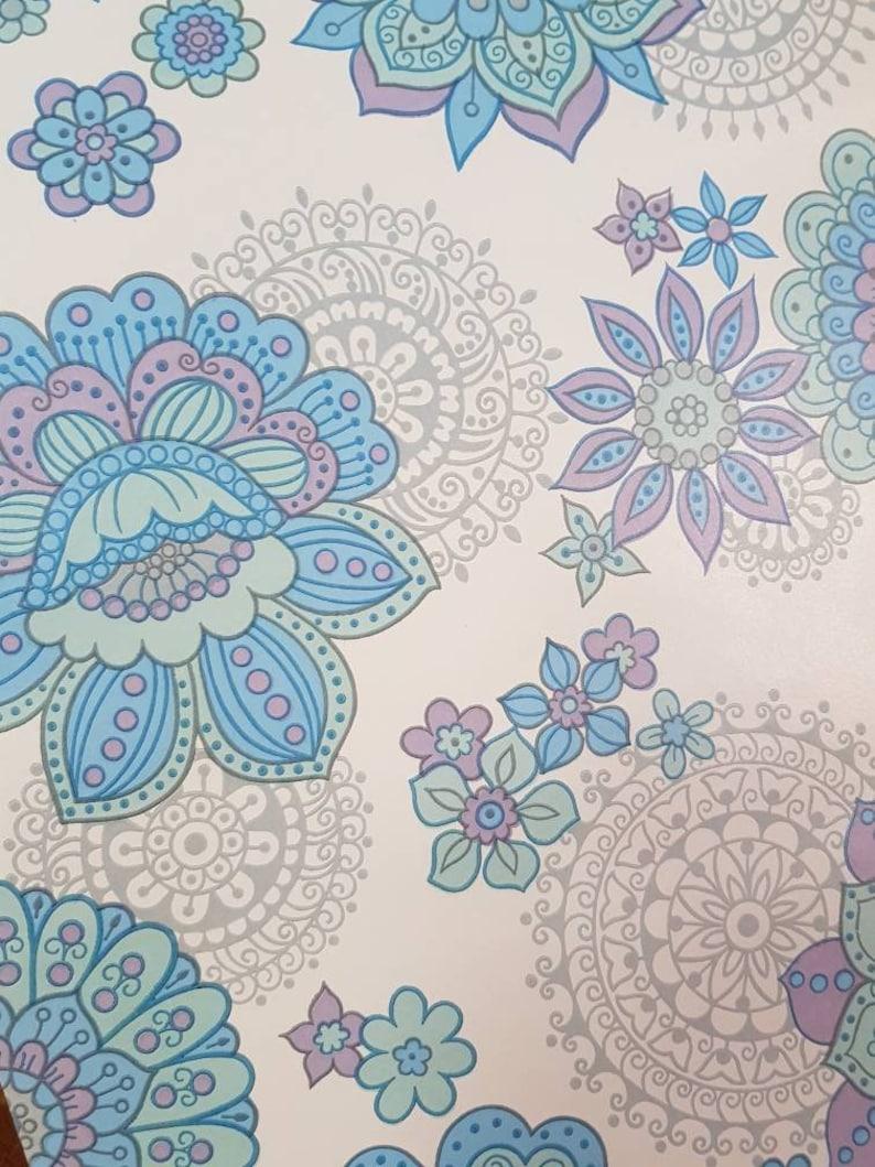 foto de Vintage Wallpaper. Retro . Flower Power. MOD. Blue and   Etsy