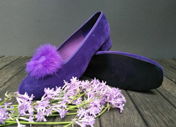 Vintage Boudoir Slippers. Retro Royal Purple Hous… - image 3