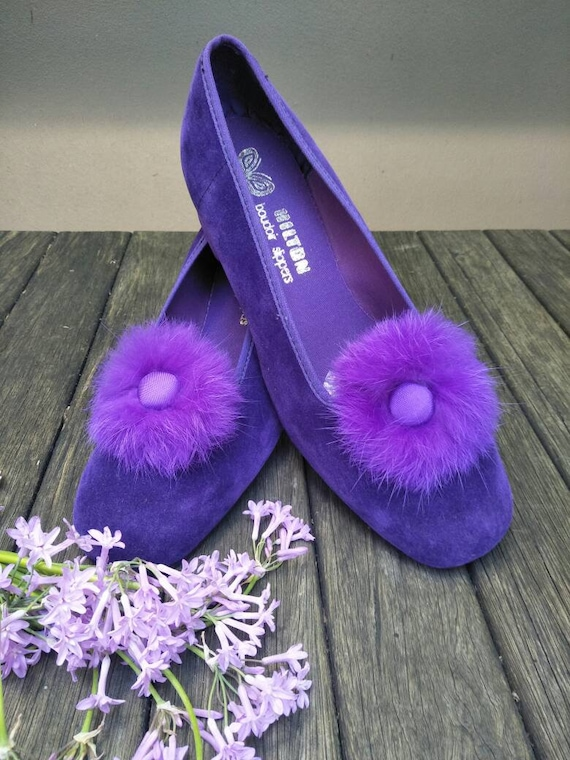 Vintage Boudoir Slippers. Retro Royal Purple Hous… - image 5