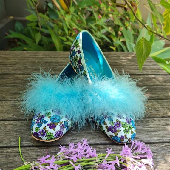 Vintage Boudoir Slippers. Retro Floral House Slip… - image 1