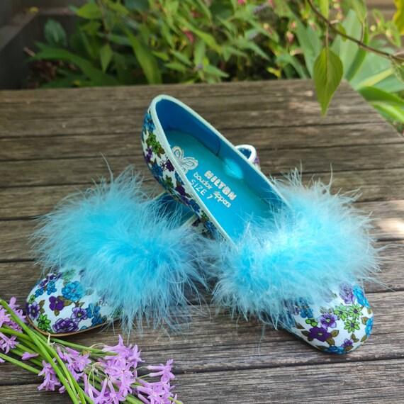 Vintage Boudoir Slippers. Retro Floral House Slip… - image 3