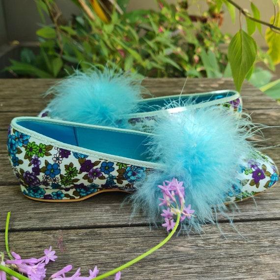 Vintage Boudoir Slippers. Retro Floral House Slip… - image 2