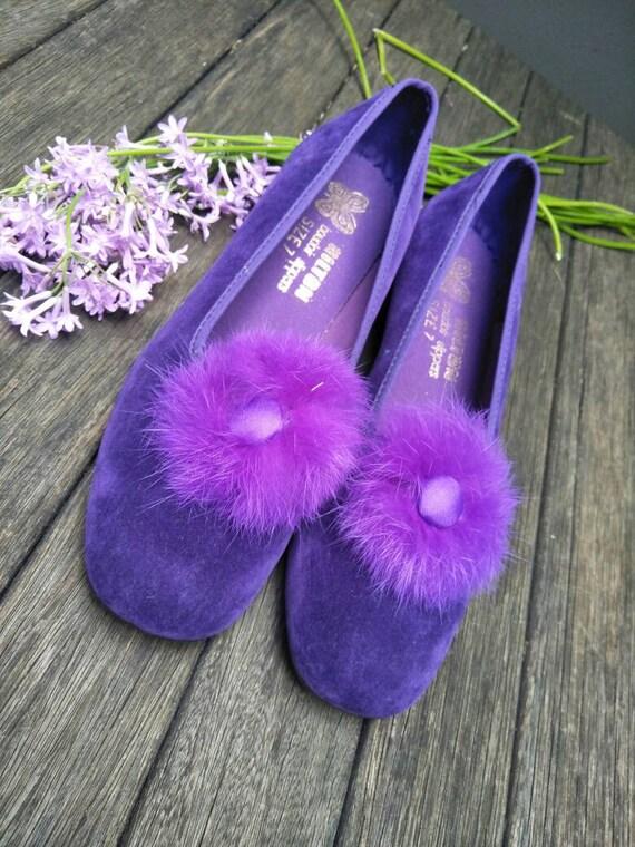 Vintage Boudoir Slippers. Retro Royal Purple Hous… - image 2