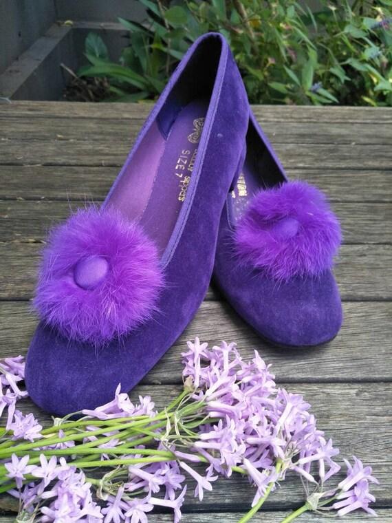 Vintage Boudoir Slippers. Retro Royal Purple Hous… - image 4