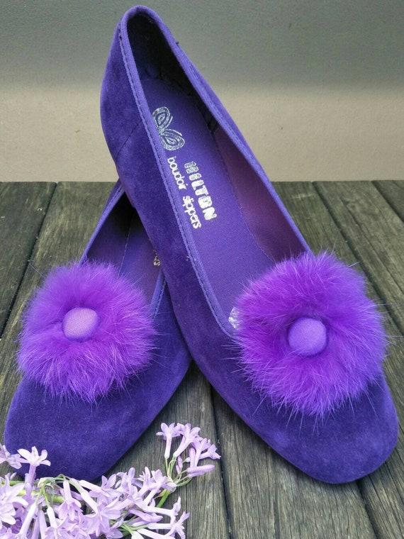 Vintage Boudoir Slippers. Retro Royal Purple Hous… - image 6