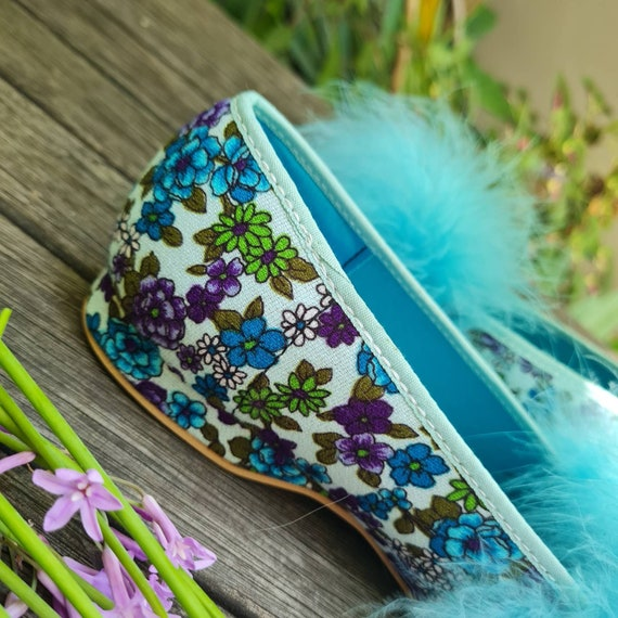 Vintage Boudoir Slippers. Retro Floral House Slip… - image 6