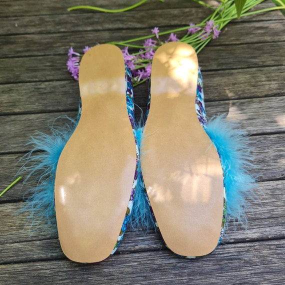 Vintage Boudoir Slippers. Retro Floral House Slip… - image 9