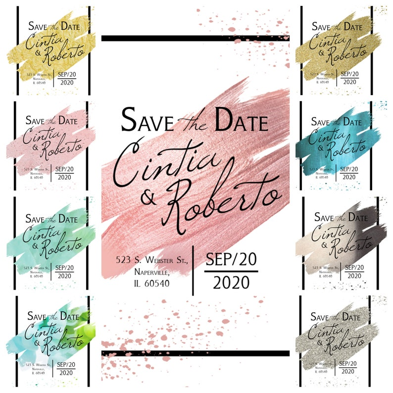 Save the Date Cards Modern Art Simple Save the Date Postcard /& Envelope Save the Date Wedding Announcement Calligraphy Save the Date Pack