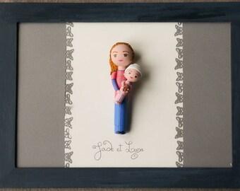 portrait personnages format A4 cadre figurine pegdoll, poupée personnalisée