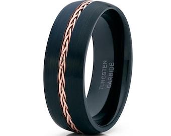 Rose Gold Tungsten Ring, Men's Rose Gold Tungsten Ring, 18k Rose Gold Tungsten, Men & Women, Anniversary Ring, Engagement Ring, Braid Ring