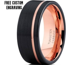 Rose Gold Tungsten Ring, Mens Black Tungsten Ring, Rose Gold Tungsten Wedding Ring, 18k Rose Gold Ring, Anniversary Ring, Engagement Ring