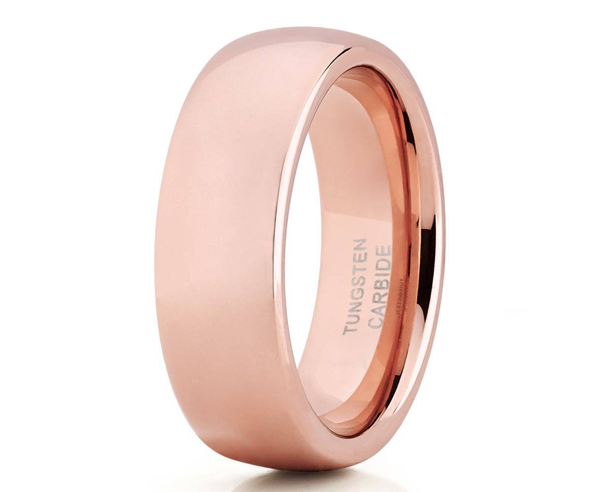 Rose Gold Tungsten WeddingBand Shiny Polish Men & WomenRose   Etsy