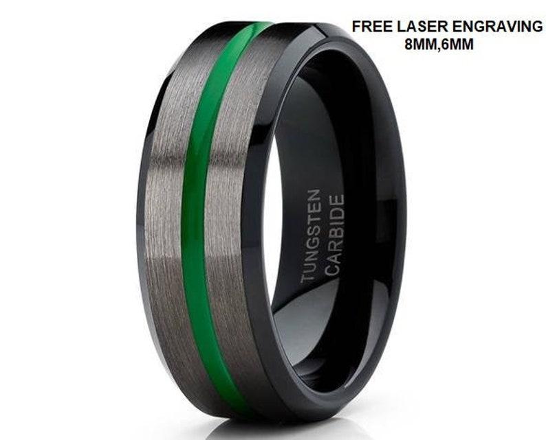 6f453dcea176d Green Tungsten Ring, Green Tungsten Wedding Band, Gunmetal Tungsten Ring,  Black Tungsten Ring, Men & Women, Tungsten Carbide Ring, Brush