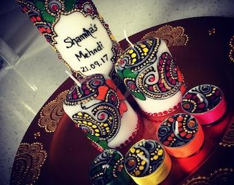 Personalised Mehndi candle set