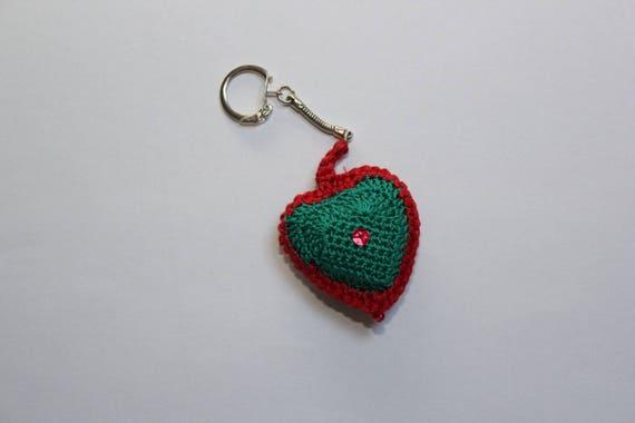 porte clés coeur vert et rouge avec paillette