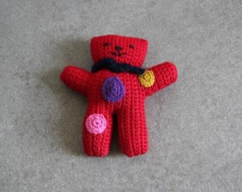 hand crocheted Red bear