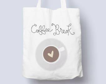 Coffee Break Illustration Tote Bag