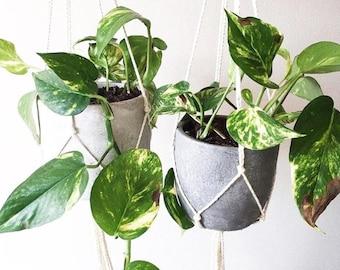 LOT de 2 x suspension jardinières en Macrame et minimaliste