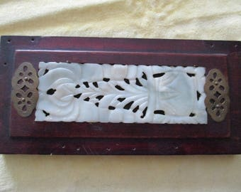 Oriental/Chinese - Carved Jade mounted in Wooden Plaque - Vintage