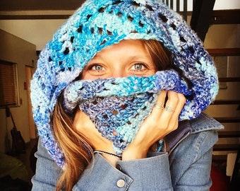Rhapsody of Blues Infinity Scarf - Crochet Pattern
