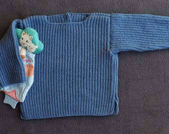1 year-18 months: mixed blue jean baby sweater cotton ribbed