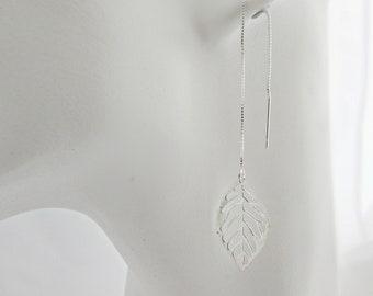 Leaf Threader Earrings, Silver Threader Earrings, Leaf Earrings, Long Leaf Earrings, Bridesmaid Gifts, Bridesmaid Earrings, UK Seller